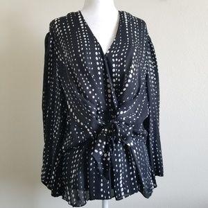 Anne Klein Silk Black/White Polka Dot Wrap Blouse